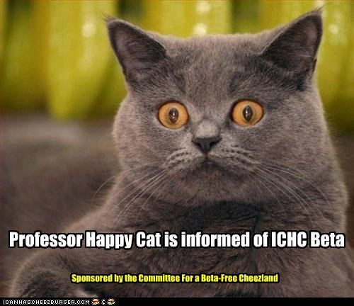 Professor Happy Cat is informed of ICHC Beta Sponsored by the Committee For a Beta-Free Cheezland