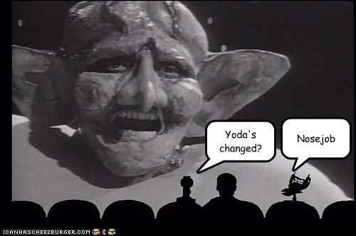 alien,b movie,bad,crow,ears,mike nelson,mst3k,Mystery Science Theatre,nose job,special effects,tom servo,yoda