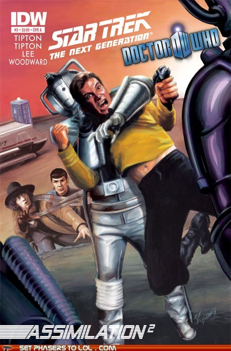 best of the week Captain Kirk comics cover art crossover cybermen doctor who Spock Star Trek the doctor tom baker - 6132586496