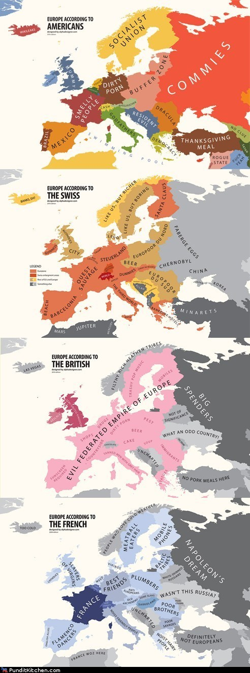 americans,British,europe,french,political pictures,stereotypes,swiss