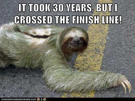 crawling,cross,finally,finish line,marathon,running,sloth,sloths,slow,years