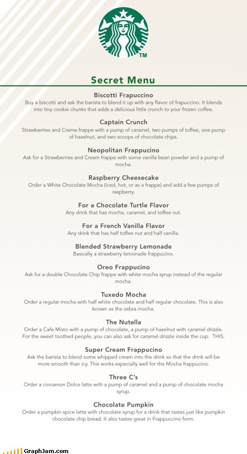 best of week coffee secret menu Starbucks