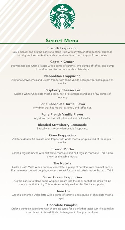 secret menu Starbucks - 6133228288