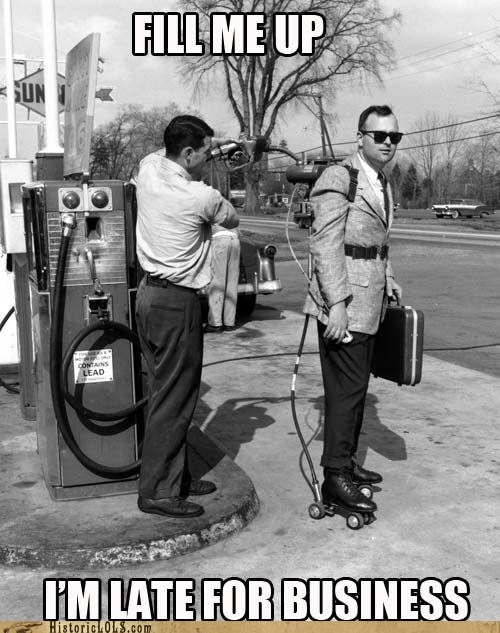 briefcase business gas gas station powered roller skates