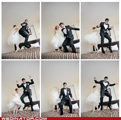 bed,bride,funny wedding photos,groom,jump