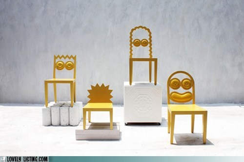 chairs,characters,shapes,simpsons,yellow