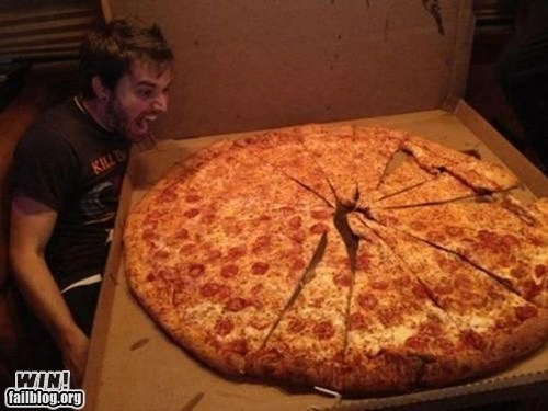awesome,excited,food,g rated,huge,pizza,win