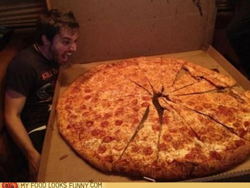 face giant huge pizza scream yell