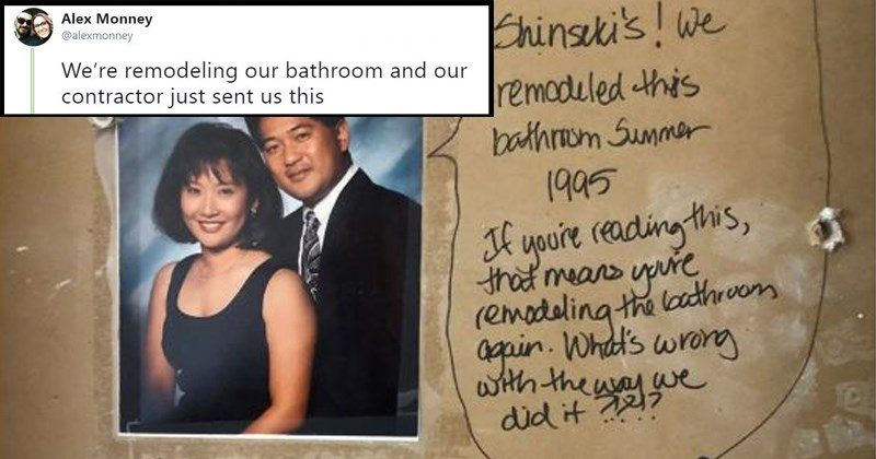 couple remodels bathroom and finds secret message