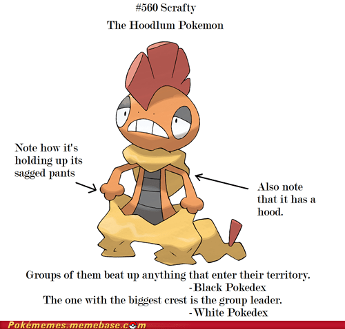 dark type dats wacist hoodlum pokedex scrafty the internets