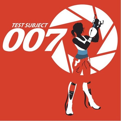 chell,james bond,merch,Portal,tees,test subject 007