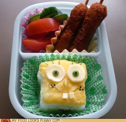 bento,eggs,lunch,meal,rice,SpongeBob SquarePants