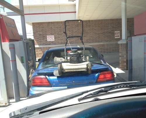 car,lawn mower,straps,transportation,trunk
