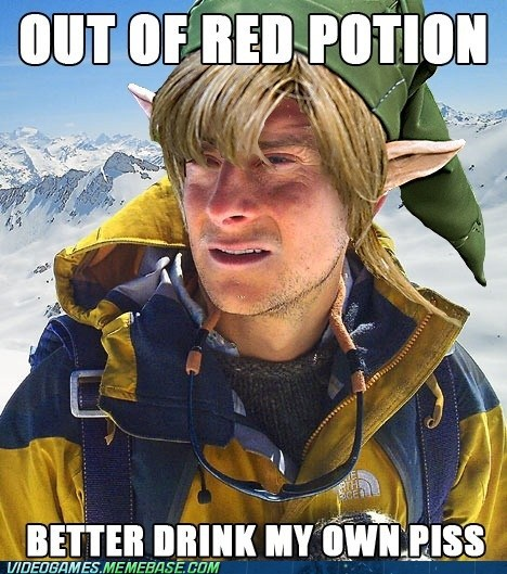 bear grylls link meme piss red potion zelda