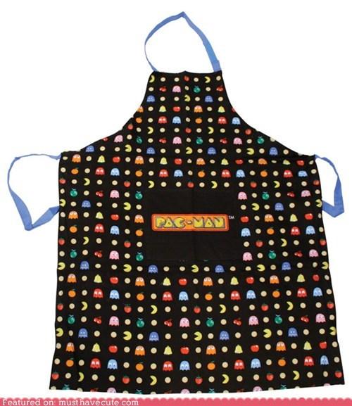 apron,logo,pac man,print