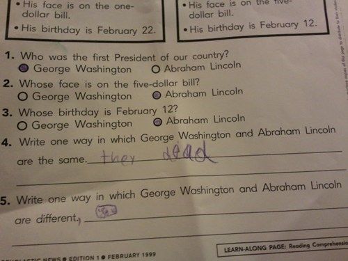 Abe Lincoln george washington presidents test humor they dead - 6136692224