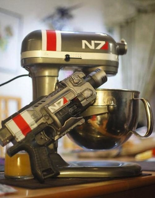 kitchenaid,mass effect,mass effect 3,mixer,n7,nerf gun,video games