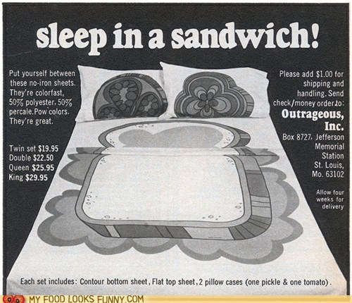 bed,bread,print,sandwich,sheets,toppings