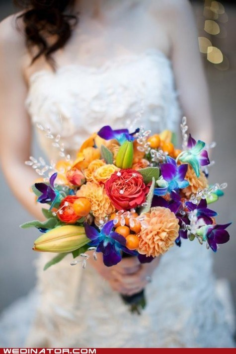 bouquet flowers funny wedding photos - 6137694464