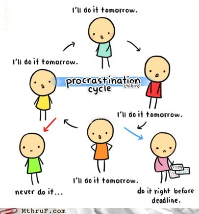 cycle of procrastination,g rated,monday thru friday,procrastination
