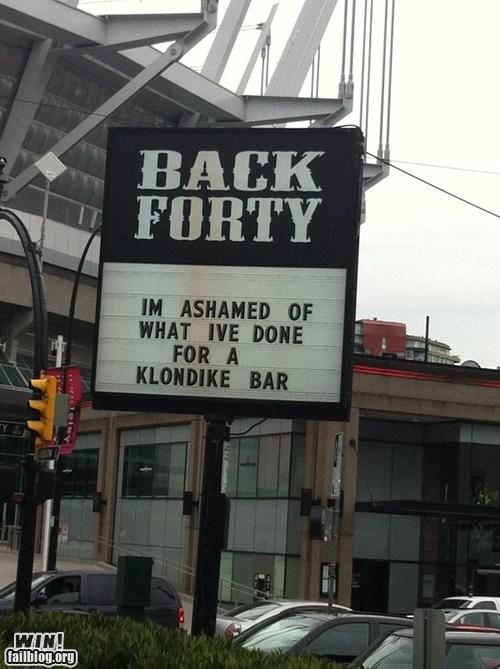 klondike bar,regret,sign,true facts