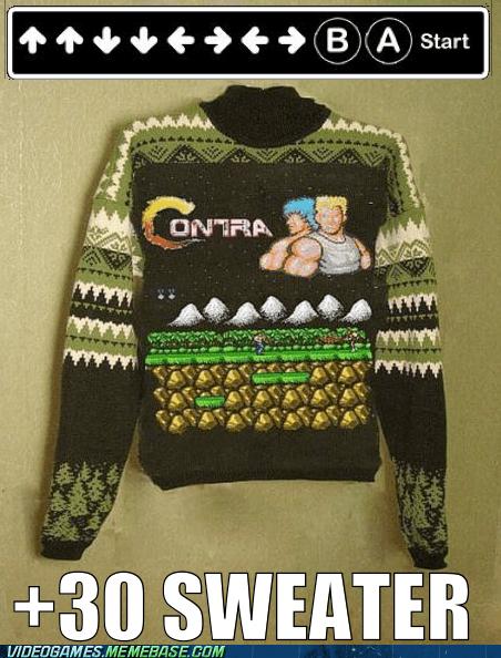 contra,extra lives,IRL,konami code,sweater