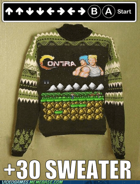 contra extra lives IRL konami code sweater - 6138000640