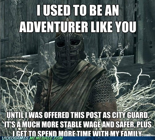 antimeme,arrow to the knee,guard,meme,Skyrim