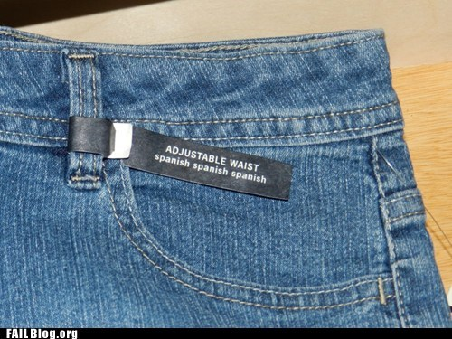 adjustable waist,bilingual,jeans,spanish,tag