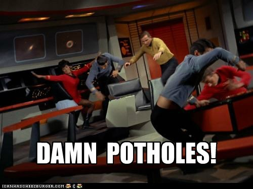 Captain Kirk,Leonard Nimoy,Nichelle Nichols,pavement,potholes,Shatnerday,space,Star Trek,uhura,William Shatner