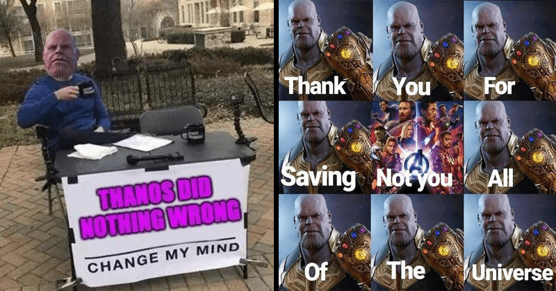 Funny memes that claim thanos did nothing wrong.