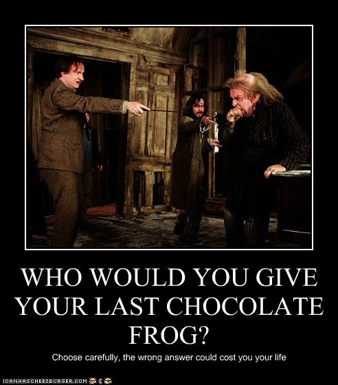 WHO WOULD YOU GIVE YOUR LAST CHOCOLATE FROG? Choose carefully, the wrong answer could cost you your life