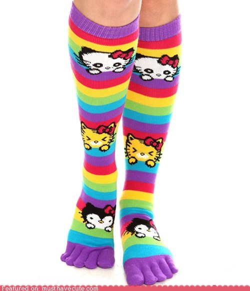 bows kitties rainbow socks stripes toe socks