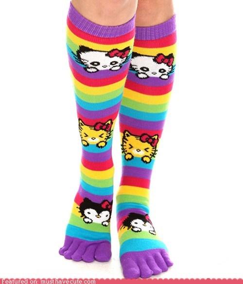 bows kitties rainbow socks stripes - 6138542848