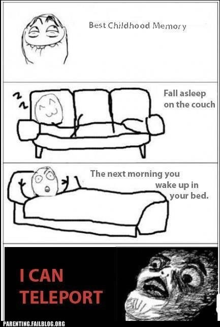 bed couch falling asleep Rage Comic IRL teleportation