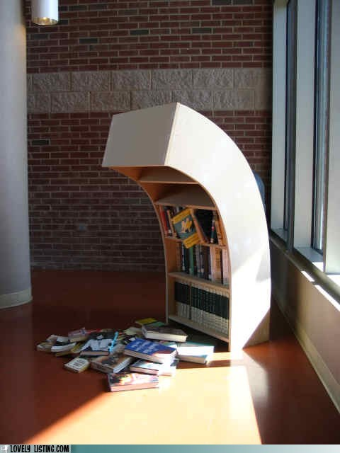 bookcase books lean Sad shelves slump - 6138724352