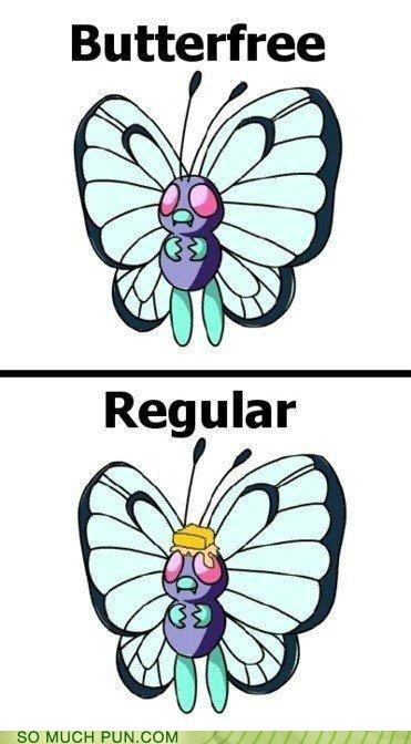 added butter Butterfree literalism name Pokémon prefix regular
