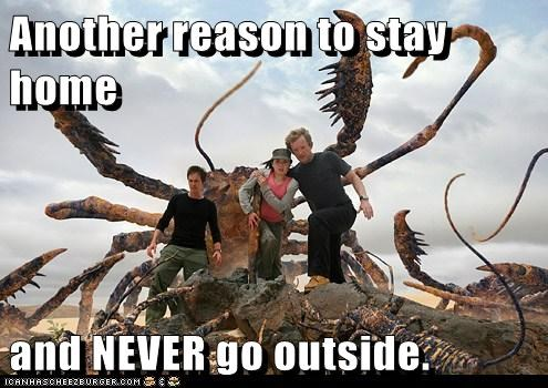 douglas henshall,giant,james murray,nick cutter,outside,Primeval,scary,scorpions,stay home,stephen hart