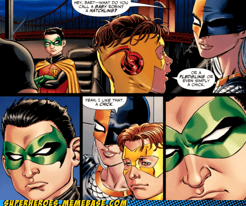 damian,kid flash,robin,Straight off the Page,wtf