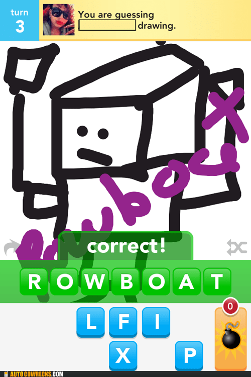 clever draw something robot rowboat