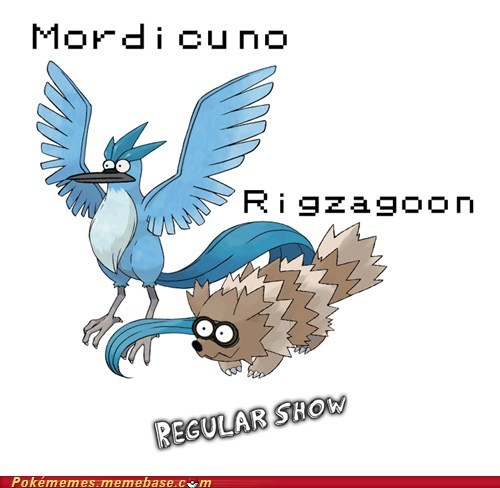 articuno,cartoon network,crossover,regular show,zigzagoon