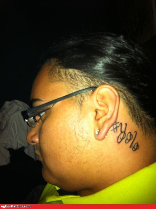 neck tattoo,yolo,yolo tattoo