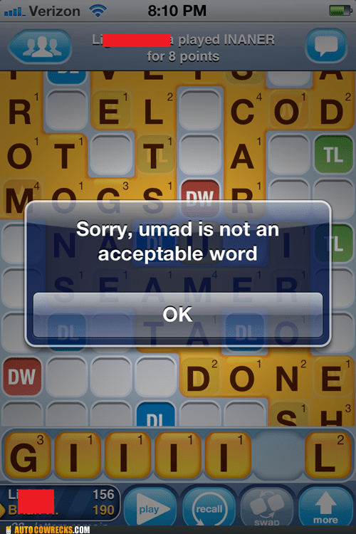 acceptable word umad Words With Friends - 6144218368