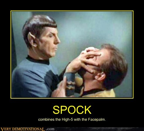 face palm,high-5,hilarious,Spock,Star Trek