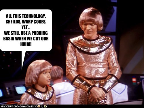 advances bowl cut Buck Rogers hair technology warp - 6145606656