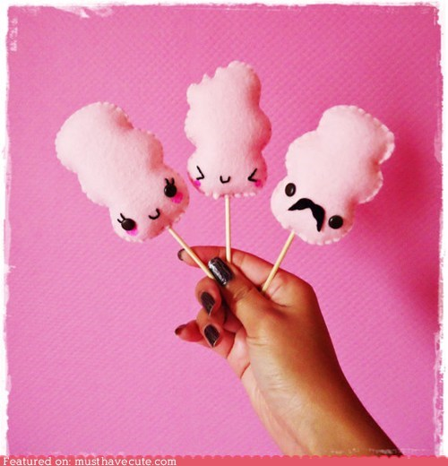 cotton candy,face,felt,mustache,Plush,stick