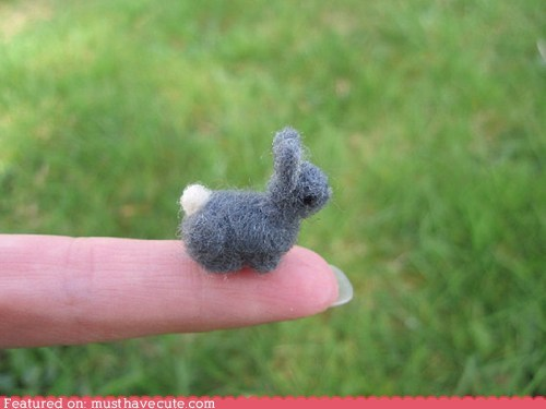 bunny felt miniature needle felt rabbit tiny wool - 6146326016