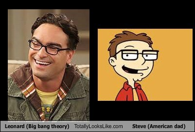 Leonard (Big bang theory) Totally Looks Like Steve (American dad)