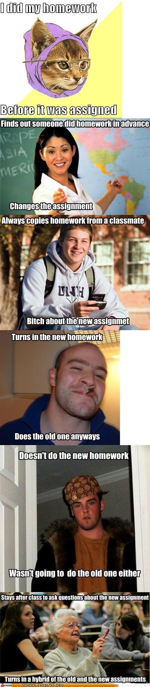 college freshman Good Guy Greg hipster cat memebase school memes - 6147117824