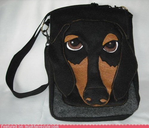 bag dachshund dogs face purse satchel